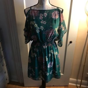 A'gaci women's green floral dress